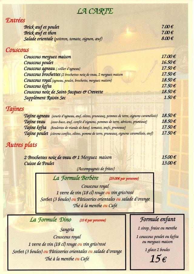Nos Menus Restaurant L Orient Specialite De Couscous Au Mans