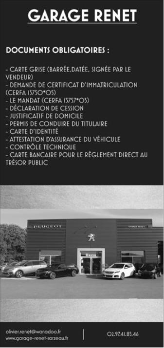 Realisation De Cartes Grises A Sarzeau Garage Renet